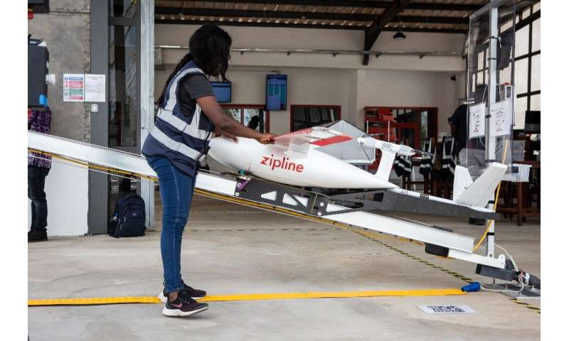 A drone operated by California startup Zipline preapres for delivery of medical supplies in Ghana in 2019. The company sees an o