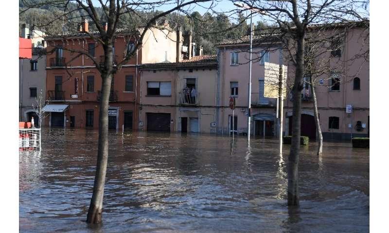 A flooded street in Sarria de Ter, Catalonia on Thursday
