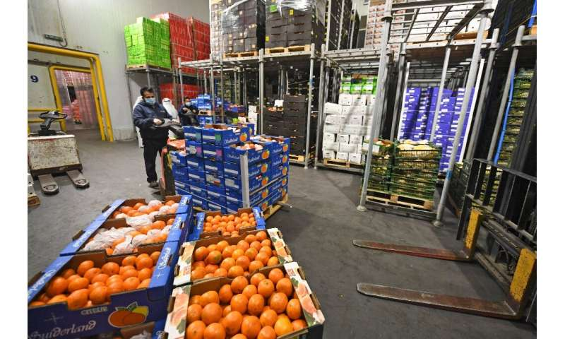 A fruit and vegetable warehouse is seen in Dubai