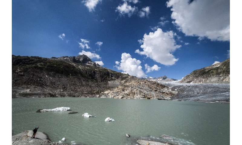 A glacial lake at the end of the Rhone Glacier, near Gletsch on August 3, 2018