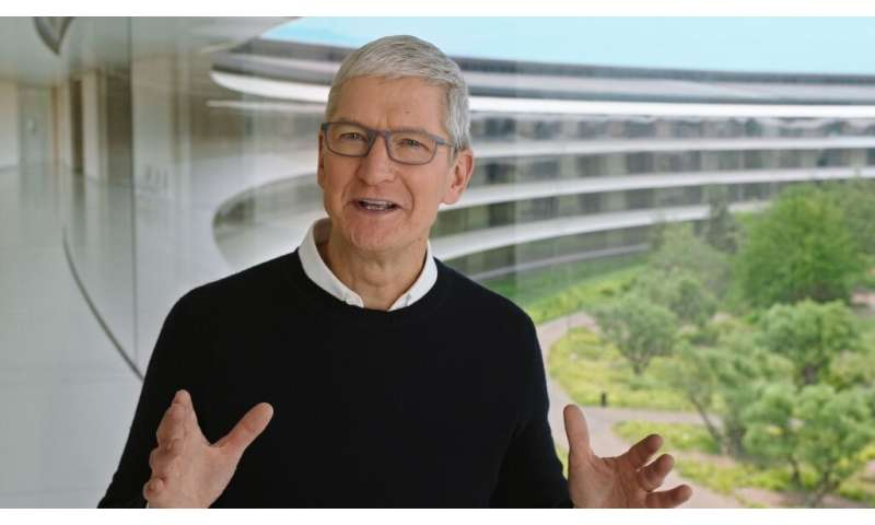 A handout image from a video released by Apple shows CEO Tim Cook at an event on September 15, 2020 in Cupertino, California; th