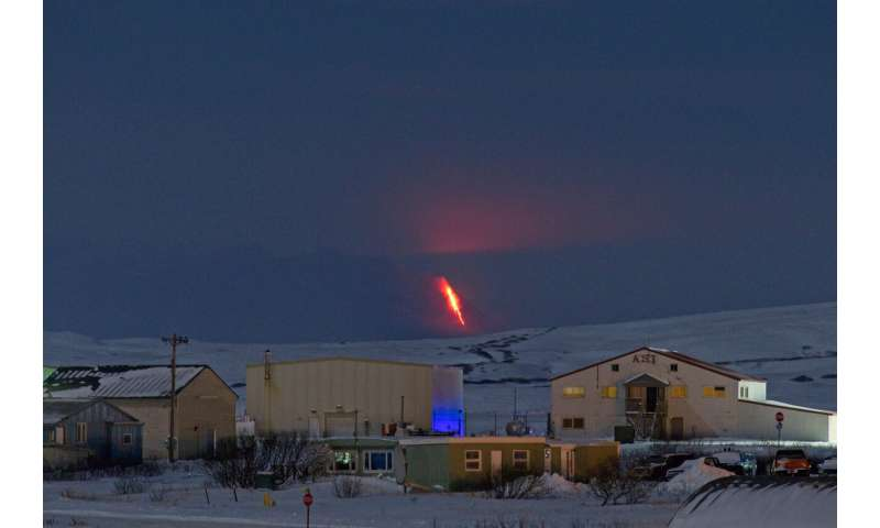 Aleutian volcano spews up ash cloud in two strong bursts