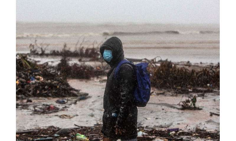 A man in Bilwi, Puerto Cabezas, Nicaragua, on November 16, 2020 as Hurricane Iota strikes