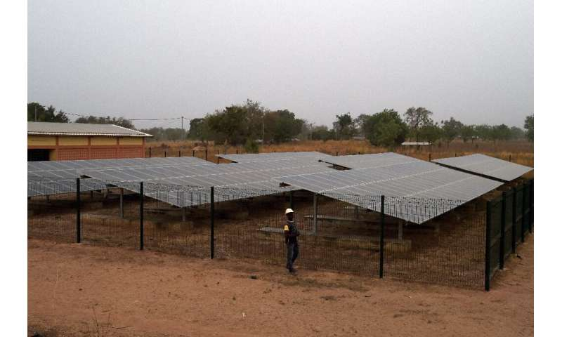 A mini-grid—a small solar farm—has been installed in Takpapieni, in Togo's northern province of Oti