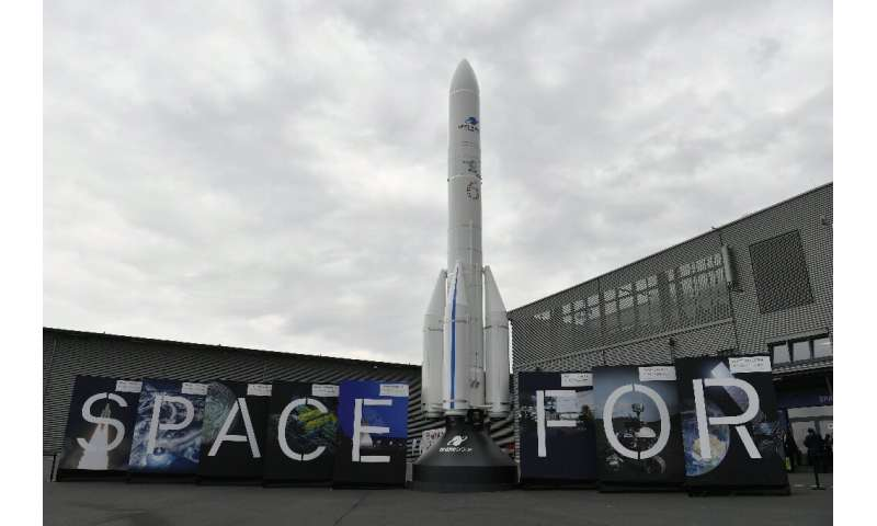 A model of an Ariane 6 rocket, a launch vehicle under development by the European Space Agency