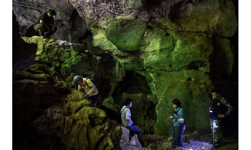 An antelope, a lonely figure, a family linking arms—Kanniga shines her flashlight across a cave to reveal paintings believed to
