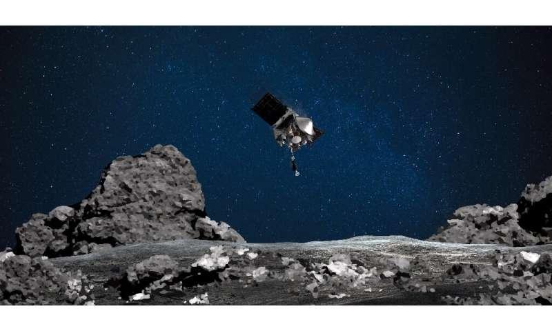 An artistic rendition of Osiris-Rex approaching the asteroid Bennu