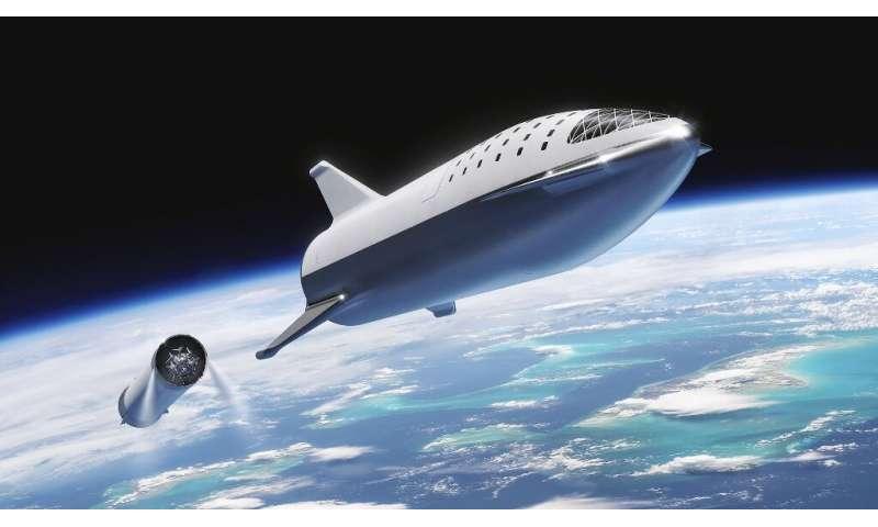 Illustration d'un artiste du vaisseau spatial StarsX et de la fusée Super Heavy (collectivement appelés Starship) que le