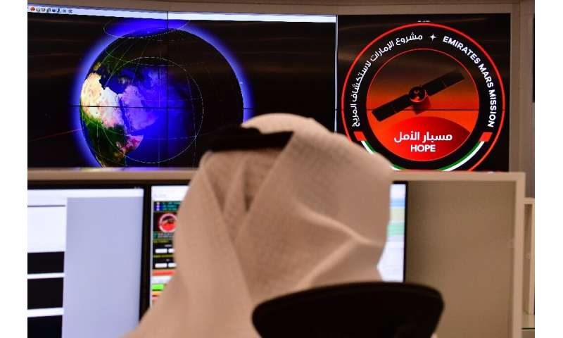 An employee in the control room of the Mars Mission at the Mohammed Bin Rashid Space Centre in the Gulf city of Dubai