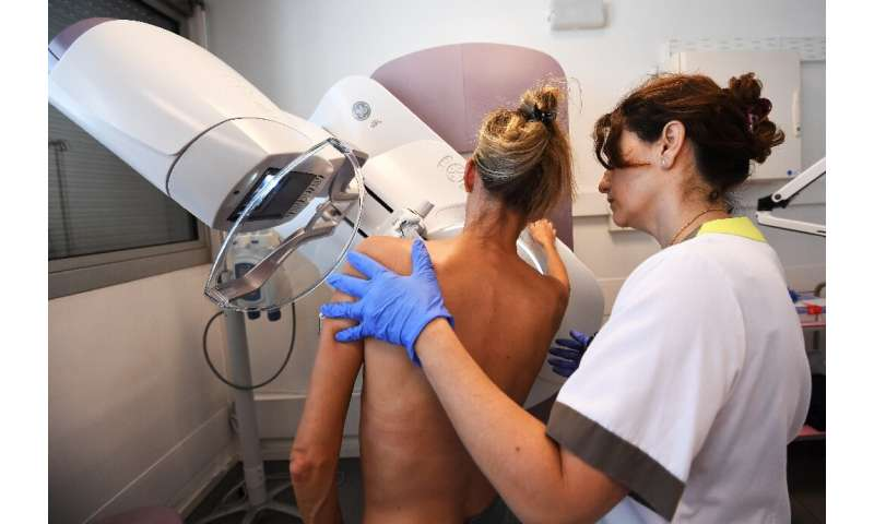A patient undergoes a mammogram to detect early signs of breast cancer