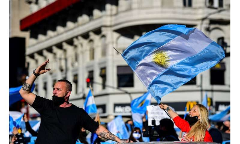 Argentina was the latest country to be hit by anti-confinement protests, thousands of opposition supporters chanting 'freedom, f