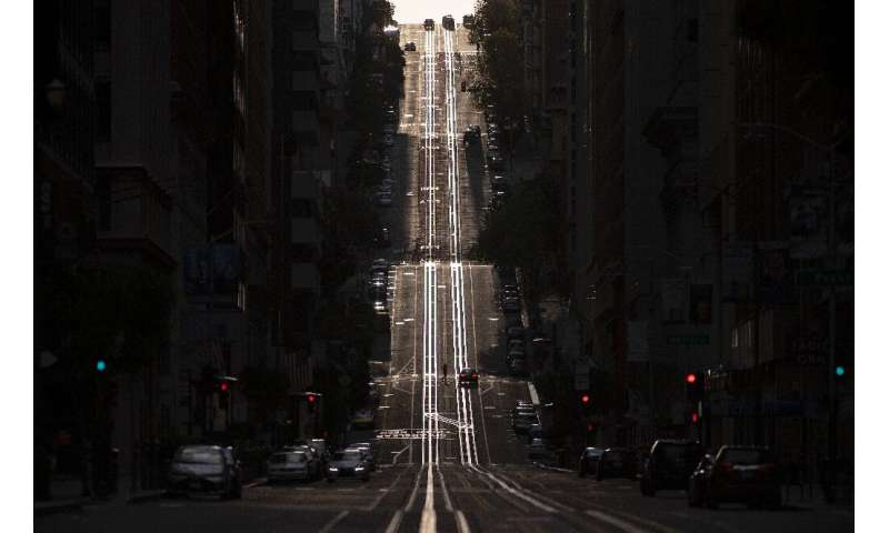 A San Francisco street usually filled with cable cars is seen empty on March 18, 2020, when the city was under a shelter-in-plac