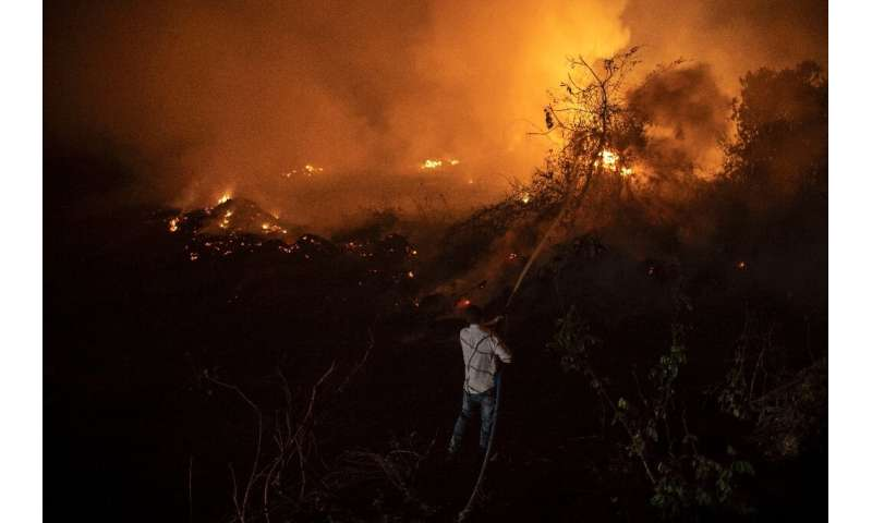 "A volunteer battles a blaze in a bid to protect a wooden bridge—one of 119 bridges on the ""Transpantaneira,"" the dirt"