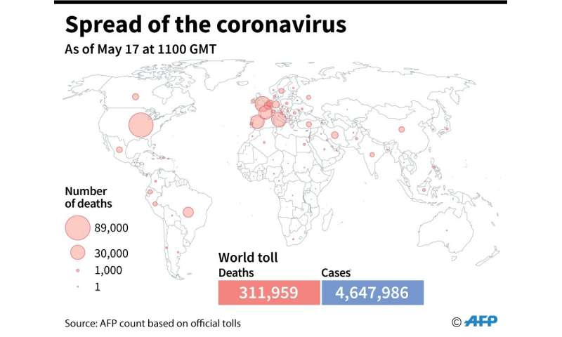 A world map showing official number of coronavirus deaths per country, as of May 17 at 1100 GMT