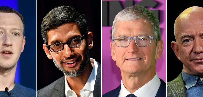 Big tech CEOs (L-R) Mark Zuckerberg of Facebook, Sundar Pichai of Google, Tim Cook of Apple and Jeff Bezos of Amazon are schedul
