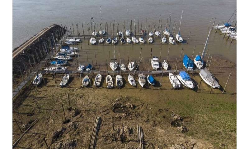 Boats stranded on the banks of the River Parana in Rosario where the level of the river is four to five times lower than usual