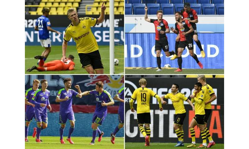 Bundesliga players celebrating goals, some practising social distancing—such as Dortmund's Erling Braut, top left—and some not