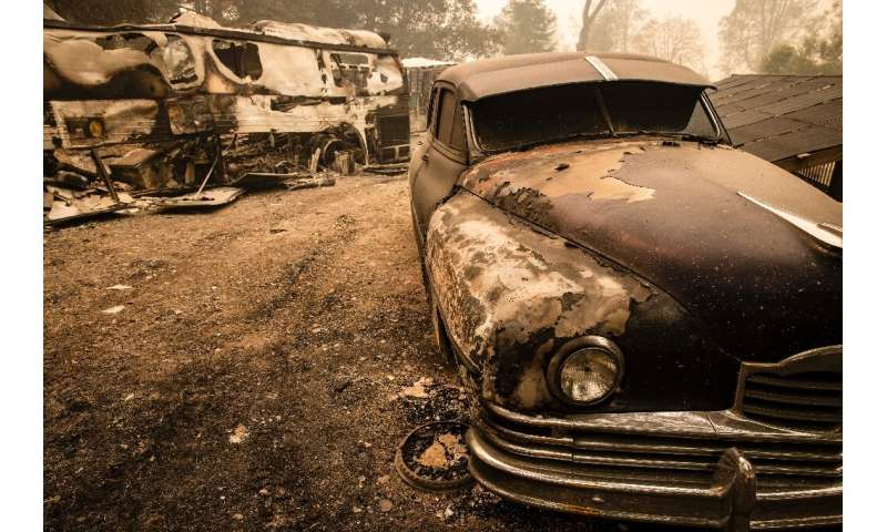 Cars with paint melted off their hoods and front tires melted away could be seen in Napa Valley after wildfire struck