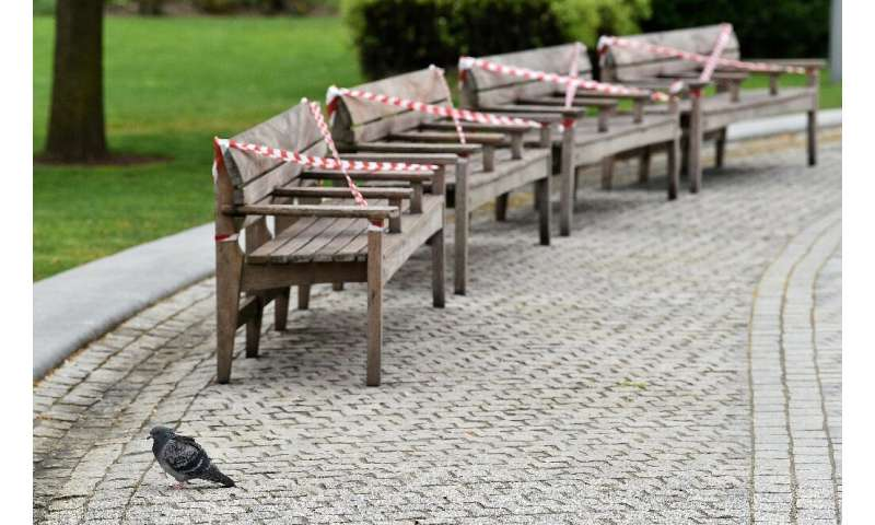 Chairs are taped off on the Southbank of the River Thames in London during Britain's COVID-19 lockdown