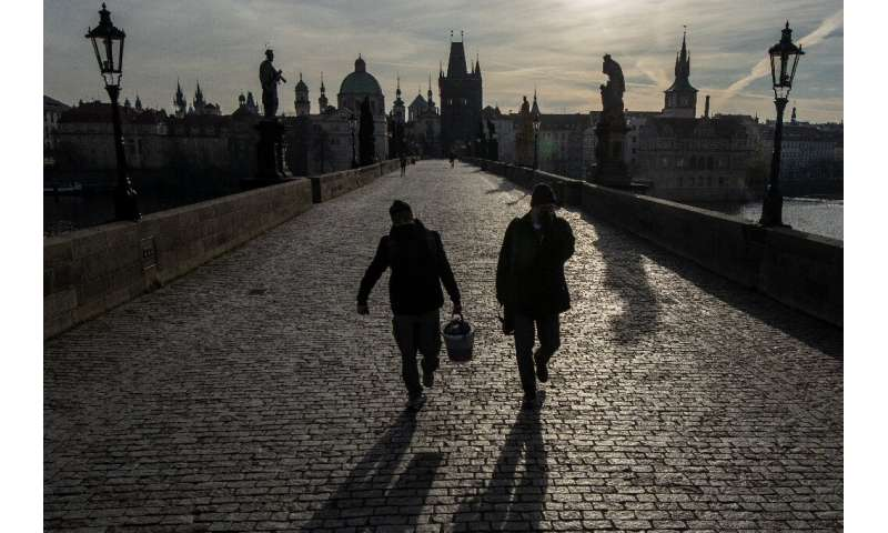 Charles Bridge in Prague is largely empty