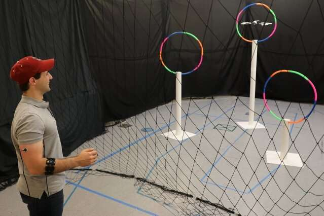 Conduct-A-Bot system uses muscle signals to cue a drone's movement, enabling more natural human-robot communication