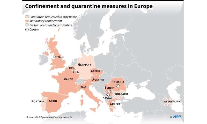Confinement or quarantine measures in Europe