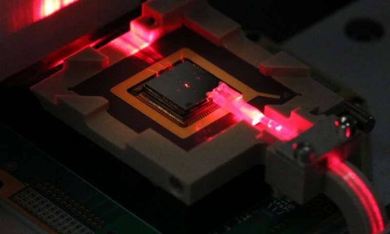 Control ions for quantum computing and sensing via on-chip fiber optics
