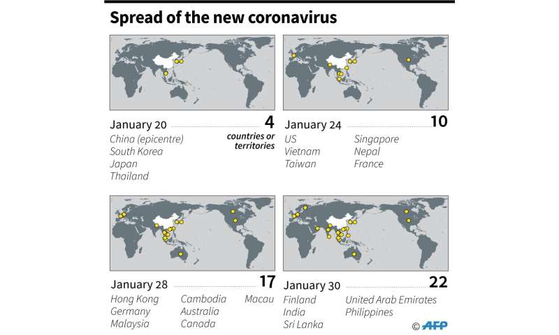 Countries or territories with confirmed cases of the new 2019 novel coronavirus