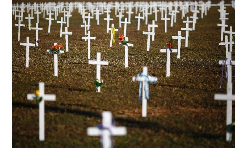 Crosses marking COVID-19 deaths are placed in front of the National Congress in Brasilia at a protest against Brazilian Presiden