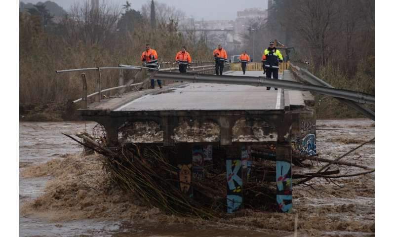"""Damage left in the wake of Storm Glora in Spain, where the prime minister has blamed climate change for """"more and more dest"""