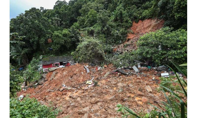 Destruction caused by a landslide in the Morro do Macaco Molhado favela in Guaruja, in Brazil's Sao Paulo state