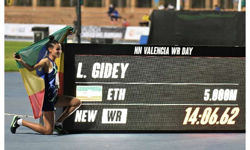Ethiopia's Letesenbet Gidey took a remarkable four seconds off the previous record for the women's 5,000m set by Tirunesh Dibaba