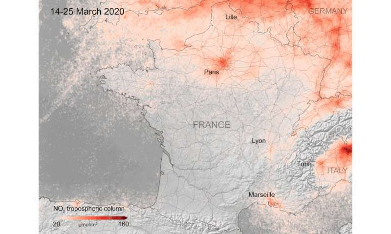 Europe having the same lockdown-caused drop in pollution observed in China