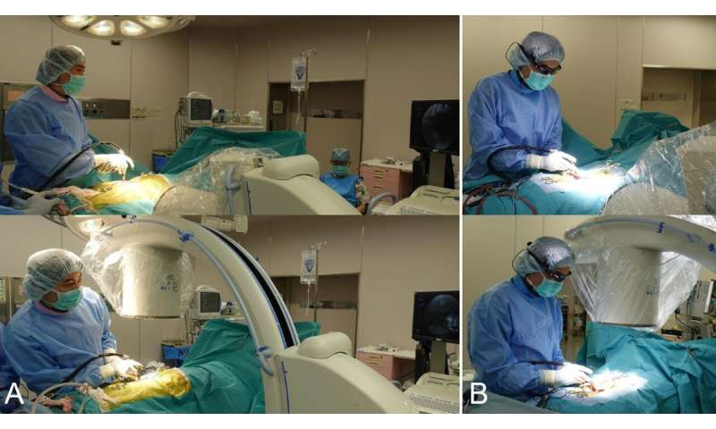 Eyeglass-attached display device provides fluoroscopic guidance during spine surgery