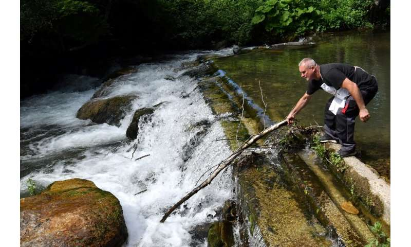 Fish farmer Muhamed Sarajlic removes debris from the river Neretvica