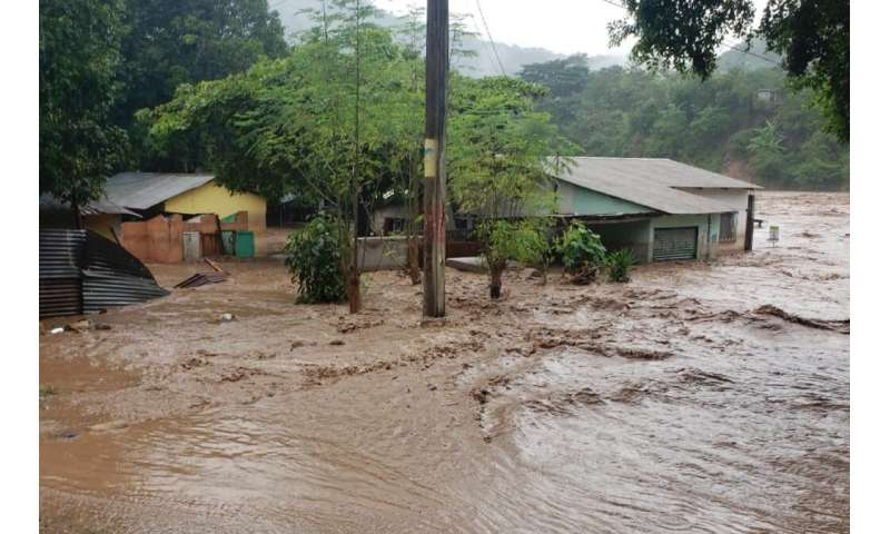 Floodwaters in Chiquimula, north of Guatemala City, after Hurricane Iota passed through, November 2020