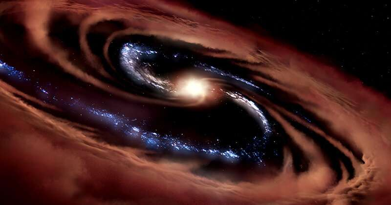 Galaxy survives black hole party - for now