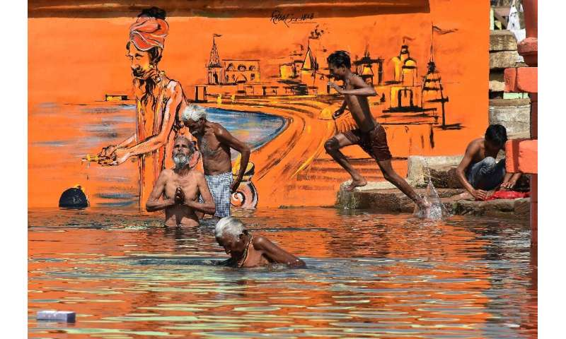 Hindu devotees bathe in Jabalpur on the occasion of Akshaya Tritiya, a annual spring festival which is believed to bring good lu