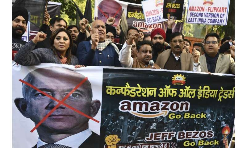 Hundreds of small traders staged protests during his visit to the giant South Asian market this week, which came as anti-trust a