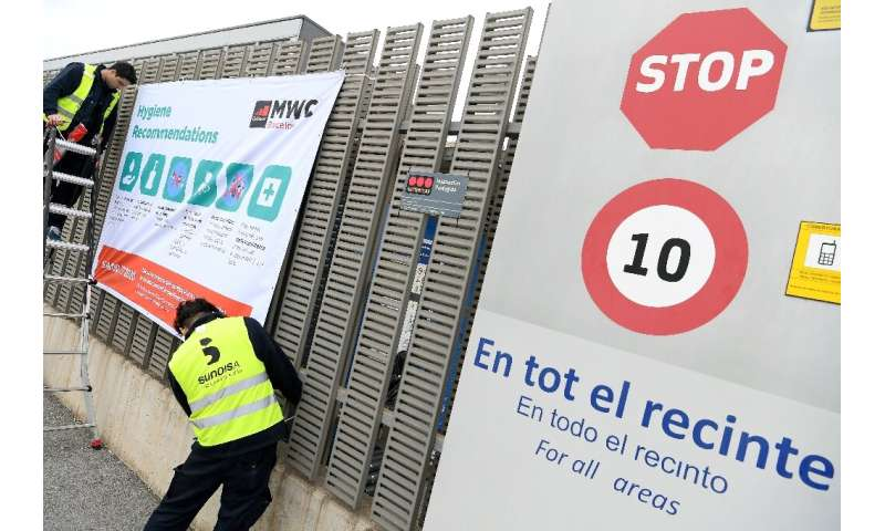 Hygiene recommendations had been posted outside the Mobile World Congress venue