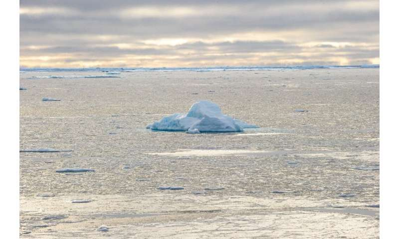 Ice chunks are seen in the Northwest Passage near the CCGS Amundsen, a Canadian research ice-breaker navigating in the Canadian