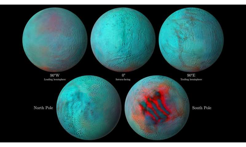 Infrared eyes on Enceladus: evidence of fresh ice in the northern hemisphere