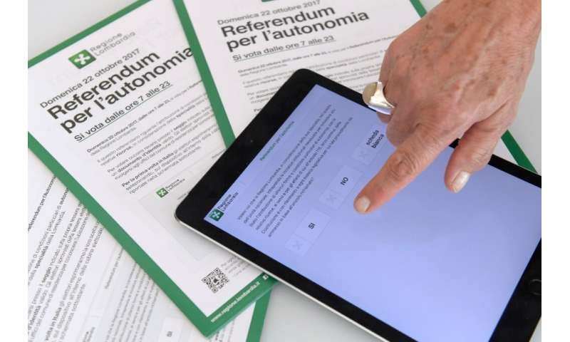 Italy is one of a number of countries that have experimented with voting by mobile app, a picture of which is seen here in 2017