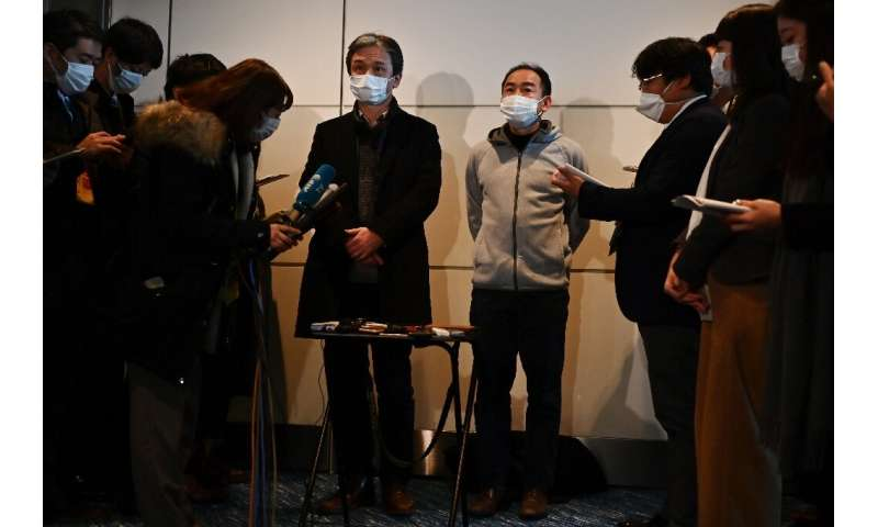 Japanese nationals airlifted from the epicentre of China's deadly viral epidemic speak to reporters in Tokyo