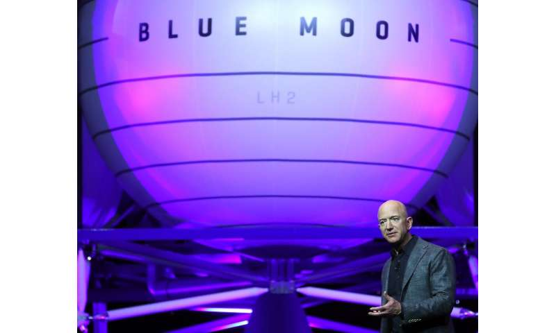 Jeff Bezos, owner of Blue Origin, introduces a new lunar landing module called Blue Moon during an event at the Washington Conve