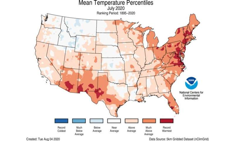 July 2020 was record hot for many U.S. states