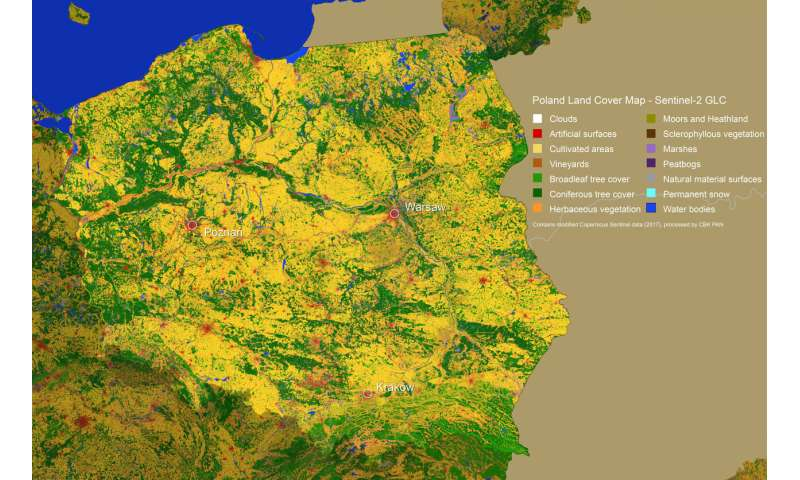 Land-cover maps of Europe from the Cloud