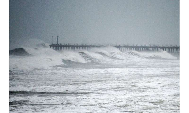 Large waves lash the beach as Cyclone Nivar approached Puducherry on November 25, 2020