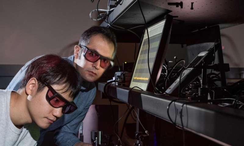 Laser pulse creates frequency doubling in amorphous dielectric material