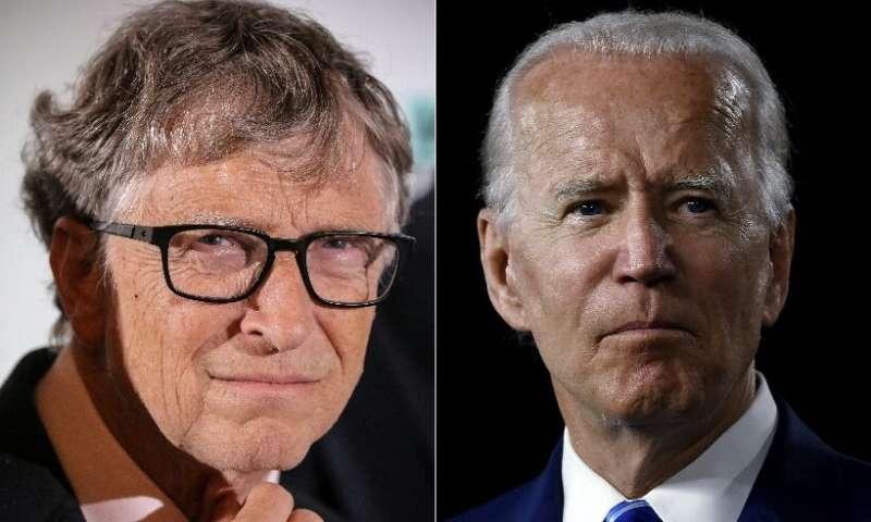 L-R, top to bottom: Microsoft founder Bill Gates, Democratic presidential candidate Joe Biden,SpaceX founder Elon Musk and Amazo